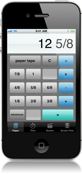 Screenshot of script supervisor's calculator showing the pages calculating mode.