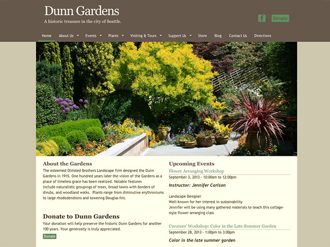 Screenshot of Dunn Gardens home page