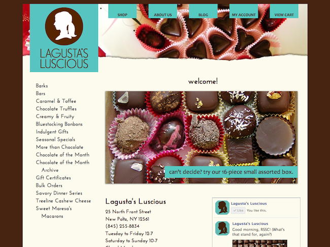 Lagusta's Luscious, a Zen Cart e-commerce site.