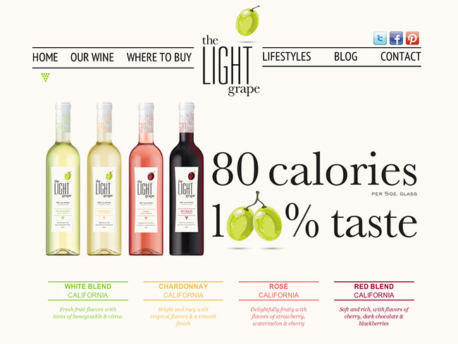 Screenshot of the Light Grape home page
