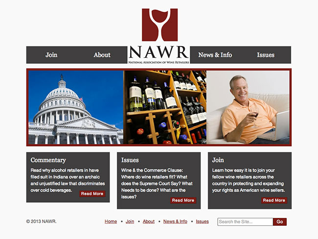 Screenshot of NAWR home page
