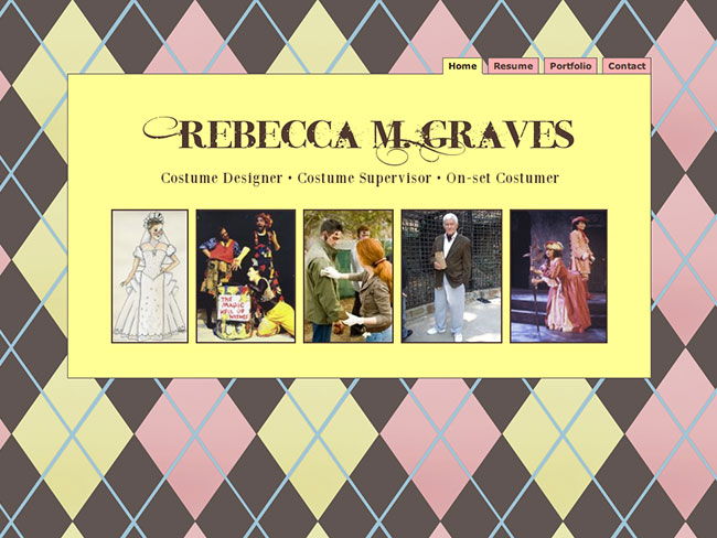 Screenshot of Rebecca Graves Costumes home page