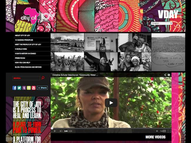 Screenshot of City of Joy website